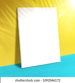 Blank poster at vivid yellow wall and turquoise floor with palm leaf shadow with sunbeam background,Mock up studio room for display of product for advertising on media,Summer vacation presentation