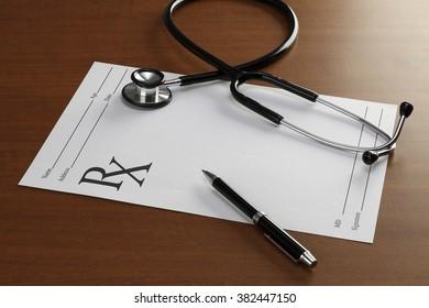 Blank Prescription with Stethoscope