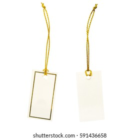 Blank price tag or label with gold border isolated on white background