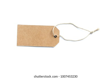 Blank price tag or label with thread isolated on white background.