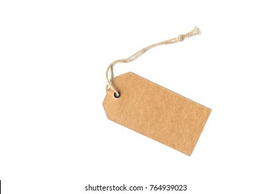 Blank price tag or label with thread isolated white background.