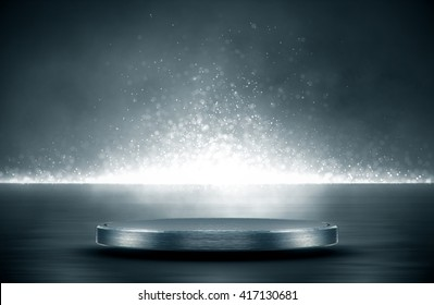 Blank product stand and Abstract background with light and reflection.3d Rendering.