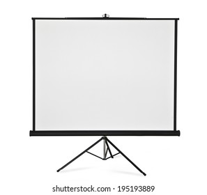 Blank projection screen on tripod.