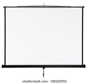 Blank projector canvas isolated on white background
