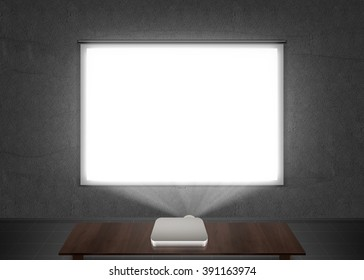 Blank projector screen mockup on the wall. Projection light in darkness. Projector display mock up. Presentation clear monitor on wall. Slide show front design. Slideshow billboard banner frame.