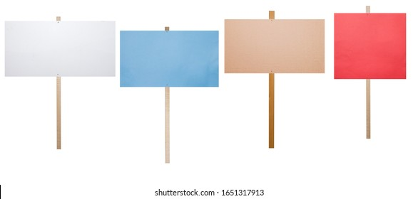 blank protest signs isolated on white background