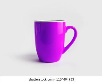 Blank purple tea cup or coffee mug. Responsive design mockup.