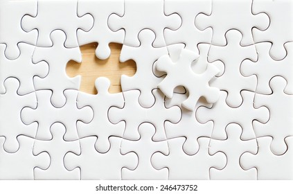 Blank puzzle background, Piece of jigsaw puzzle for business background concept, Blank white jigsaw paper texture, template for business strategy success idea concept