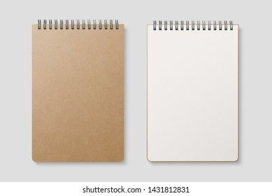 Blank realistic spiral bound notepad mockup with Kraft Paper cover on light grey background. High resolution.