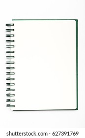 Blank realistic spiral notepad notebook on white background.