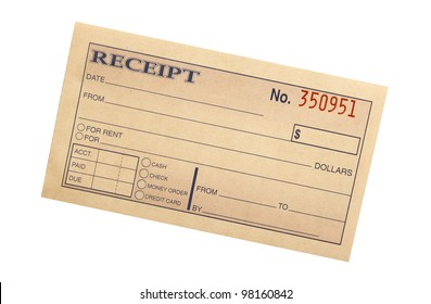 blank receipt on white with clipping path at original size