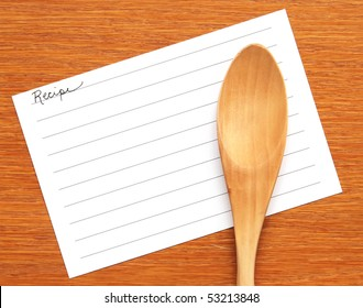 blank recipe card with wooden spoon