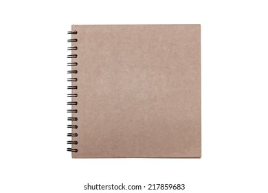 Blank recycled paper notebook front cover isolated on white background with clipping path