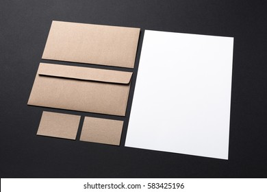 blank recycled and white paper stationery set