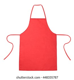 Blank red apron isolated on white background