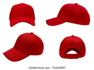a7c65af18c2 blank red baseball cap 4 view on white background