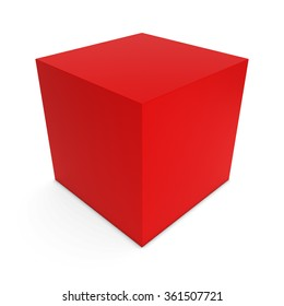 Blank Red Cube Isolated on White Background