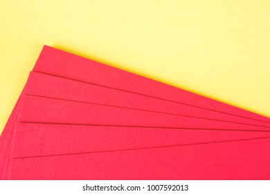 Blank red envelop on yellow background with space for add text, Chinese new year concept idea.
