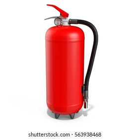 blank red fire extinguisher on white background 3D illustration