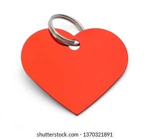 Blank Red Heart Dog Tag Isolated on White Background.
