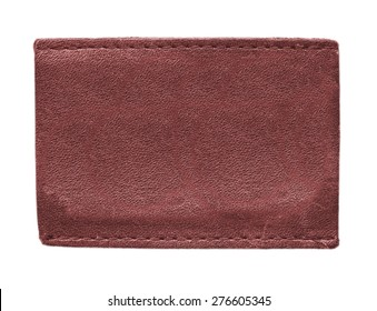 blank red leather label on white background