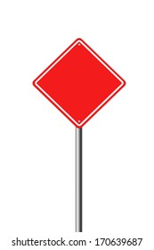 Blank Red Road Sign. A blank red sign ready for your text.