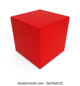 Blank Red Rounded Cube Shape Isolated on White Background
