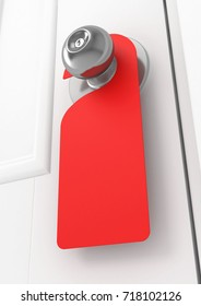 Blank red sign on the door handle, 3d illustration