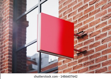 Blank red square store signboard Mockup. Empty shop Street sign, signage on the wall. , 3d rendering.
