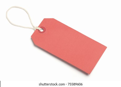 Blank Red Tag, isolated on white.