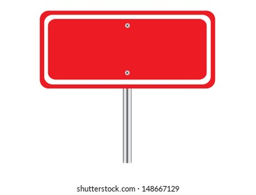 Blank Red Traffic Road Sign on White