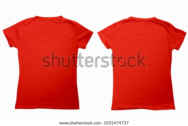 Blank Red Tshirt Template Presentation Mockup Stock Image