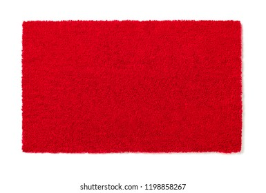Blank Red Welcome Mat Isolated on White Background Ready For Your Own Text.