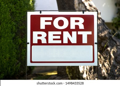 Blank For Rent Sign in Front Yard with Background