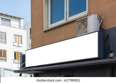 Blank Restaurant Sign Large Billboard Banner Building Corner