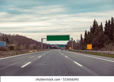 Blank road destination sign on motorway. Add your own text