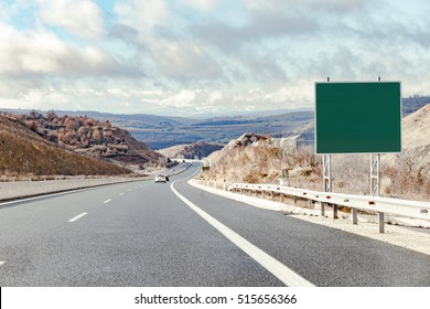 Blank road destination sign on highway. Add your own text