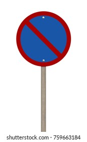 Blank road sign or blue forbidden traffic sign isolated on white background.