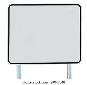 A blank road sign isolated on white.