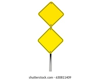 Blank road sign isolated on white background. 3d illustration