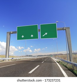Blank road sign on highway. Add your own text