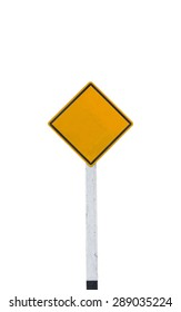 blank road sign on white background,isolated with clipping path