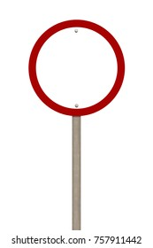Blank road sign or red forbidden traffic sign isolated on white background. Objects clipping path