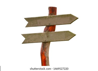 blank road sign wooden arrows show the direction of the road isolated on white background