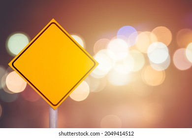 blank road sign yellow traffic post banner copy space for travel trasportation background