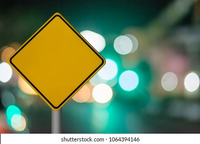 Blank Road Sign.blank signboard on bokeh background, abstract background,crystal background.