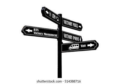 Blank road signs on white.Clipping Path