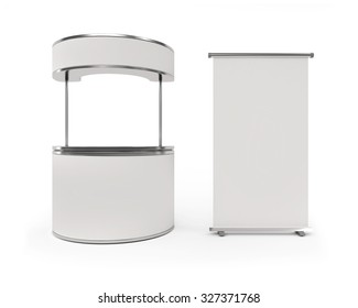 Blank roll up banner display and Blank Exhibition Trade Stand