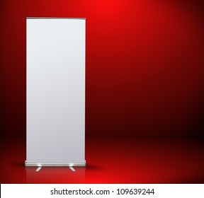 blank roll up banner display in red room