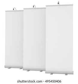 Blank Roll Up Banner Stands with different angles. Trade show booth white and blank. 3d render isolated on white background. High Resolution Template for your design.